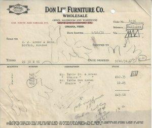 Don Lee Furniture Co., Omaha, Nebr. Nebraska Vintage 9/26/31 Invoice