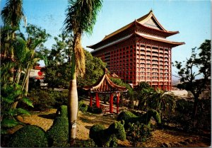Garden of Grand hotel Taipei Taiwan vtg postcard