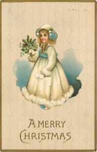 Christmas~Pretty Blonde Girl~White Fur Trimmed Coat & Hat~Mittens~Mistletoe~Emb