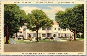 St. Petersburg, Florida Postcard HOTEL GAYFAIR 160 5th Ave. No - Linen c1940s