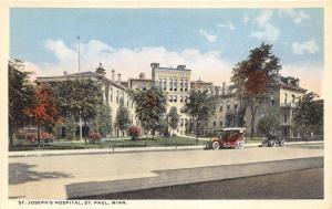 St Paul Minnesota~St Joseph's Hospital~Vintage Cars Parked in Front~1920s Pc