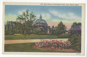 MI Detroit Zoological Park Royal Oak Bird House 1938 Linen Postcard