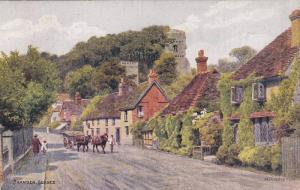 Residential Road, Horse-drawn wagons, Bramber, Sussex, England, United Kingdo...