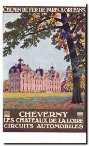 Old Postcard Cheverny Paris Train Railroad has Orleans Road Racing