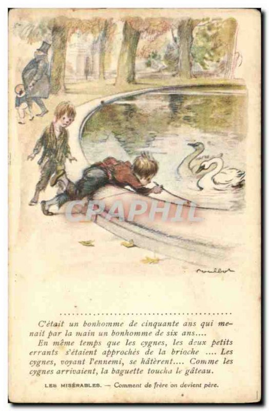 Old Postcard Fantasy Illustrator Poulbot Victor Hugo Les miserables Swan Swan