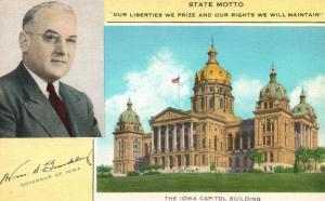 Des Moines, IA, State Capitol, Motto, Governor, Linen Vintage Postcard g821