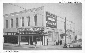 F33/ Griffin Georgia Postcard c1940s Willis Restaurant Roadside