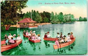 BOISE, Idaho Postcard Boating at Pierce Park Boat Landing View Mitchell 1910s
