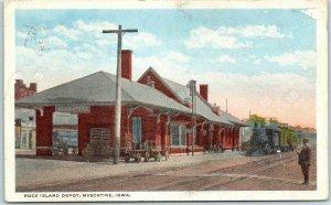 Muscatine, Iowa Postcard ROCK ISLAND DEPOT Railroad Station w/ Train - 1919