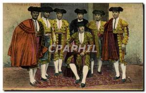 Old Postcard Bullfight Bullfight Matadors A Quadrilla