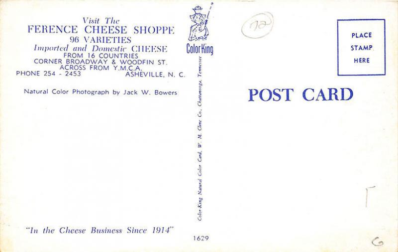 Asheville NC Ference Cheese Shoppe Across From YMCA Postcard