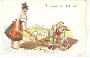 Woman takes drankman in a barow Humorous vintage German postcard