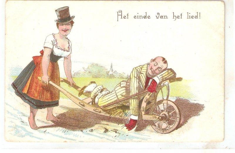 Woman takes drankman in a barow Humorous vintage German postcard