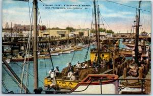 San Francisco CA Postcard Fishing Fleet, FISHERMAN'S WHARF Kropp Linen c1940s