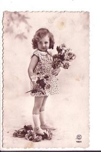 Little Girl with Flowers, Real Photo, Made in France