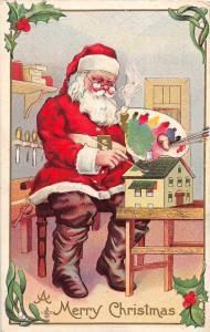 F25/ Santa Claus Merry Christmas Postcard 1912 Paint Toy House 16