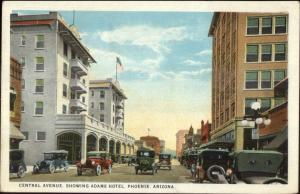 Phoenix AZ Central Ave c1920 Postcard - Old Cars