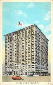 Edwards Hotel Jackson MS Old Cars Automobiles Thoroughly Fireproof 1925 Postcard