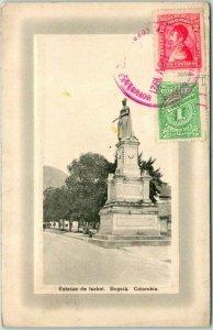 Postally-Used Bogota, COLOMBIA Postcard Estatua de Isabel 1921 Cancel /Stamp