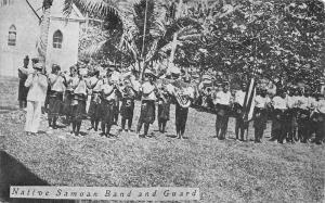 Bands~Native Samoan Band & Guard~Tuba~Trumpets~US Flag?~1910 B&W Postcard