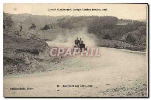 Postcard Old Cars Tour d & # 39Auvergne Gordon Bennett cup 1905 Turning polic...