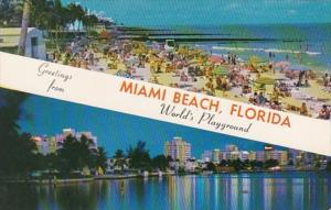 Florida Greetings From Miami Beach Showing Skyline and Beach Scene