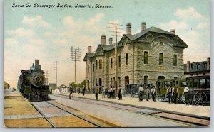 Emporia KS~US Post Office? Wagon~Santa Fe Passenger Station~AT&SF Railway~c1910