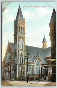 Canton OH~Savings Bank~Gothic 1st United Methodist Episcopal Church~c1910 PC