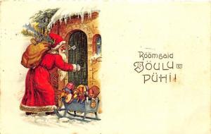 Christmas Santa Claus Toy Sled Estonia Postcard #6163