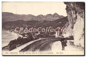 Postcard View Of Old Menton Garavan Taking Of The Road From Ventimiglia