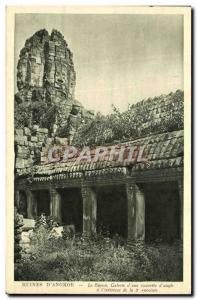 Old Postcard Ruins D Angkor Bayon Gallery courtyard of an inside corner of th...