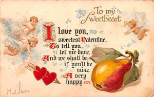 Valentines Day 1907 small paper chip right bottom corner