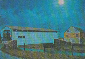 Dutch Art Covered Bridge Moonlit Bridge by Jay McVey