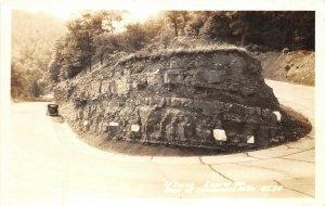 Macomber West Virginia 1940s RPPC Real Photo Postcard U Curve Laurel Mountains