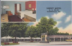 Glennville GA - SUNSET MOTEL with interior view inset, U.S. 301-25, 1930/40s