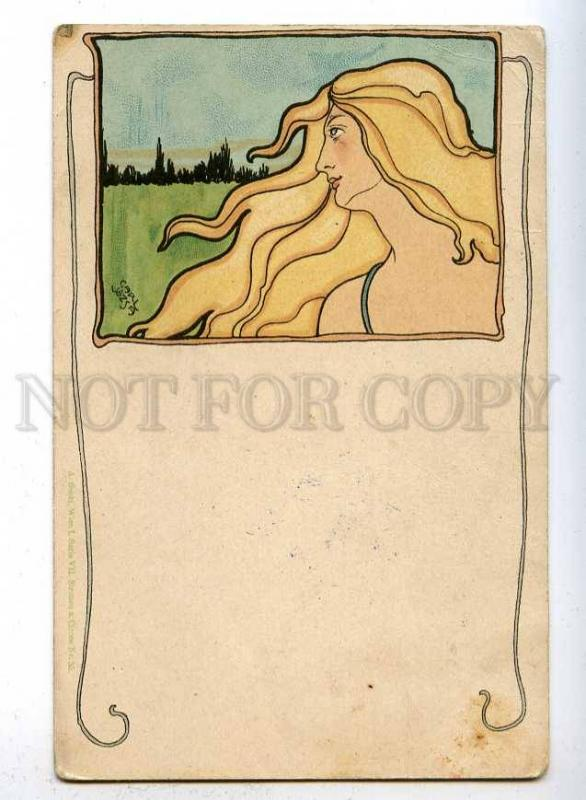 187494 ART NOUVEAU Head Female NYMPH by Carl JOZSA vintage PC
