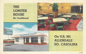 B51/ Allendale South Carolina Postcard Linen Lobster House Restaurant Interior