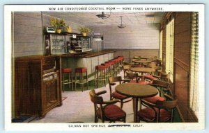 GILMAN HOT SPRINGS, San Jacinto CA ~ Interior COCKTAIL ROOM 1941 Linen Postcard