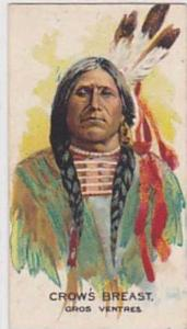 B A T Vintage Cigarette Card Indian Chiefs No 3 Crows Breast Gros Ventres Tri...