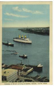 Ocean Liner EMPRESS of BRITIAN arriving , Quebec , Canada , 30-40s