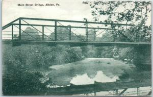 Albion, Pennsylvania Postcard Main Street Bridge River View  H.H. HAMM Unused