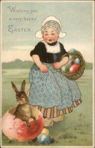 Easter - Dutch Girl Rabbit Red Egg Shell c1910 Card/Postcard Blank Back