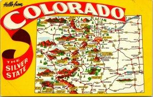 HELLO FROM Colorado - SILVER STATE - Postcard Map Scenes - VINTAGE - PC - COLOR