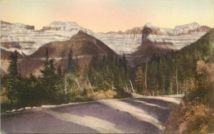 Hand Colored Postcard Glacier National Park Garden Wall From Going to the Sun