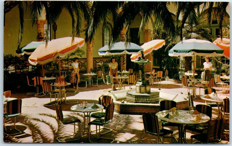 San Jose, California Postcard HOTEL ST. CLAIRE Patio Dining Scene c1950s Chrome