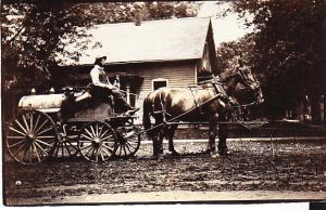 Man on Oil Wagon - Real Photo Card Unused