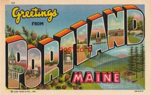 1953 Greetings from PORTLAND Maine, large letter, postmarked