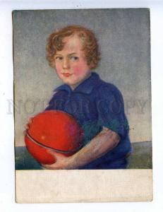 204823 RUSSIA Zverev Boy Ball AKHR #170 vintage postcard