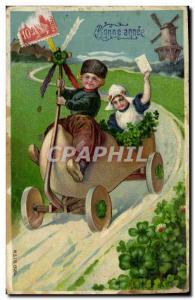 Postcard Old Windmill Child Automotive