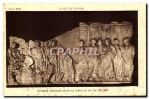 Old Postcard Musee Du Louvre Religious Ceremony in front of the Temple of Jup...